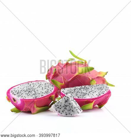 Dragon Fruit With Pink Peel On White Background