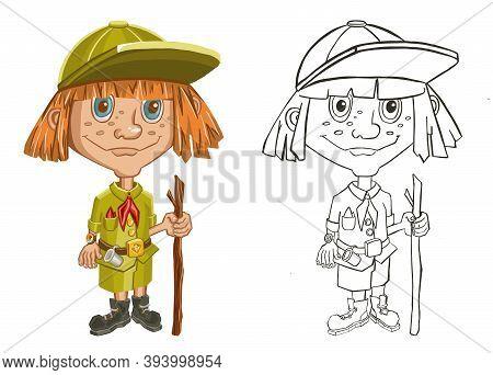 Kid Girl Explorer Following Path Set Illustration