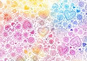 Watercolor light hand painted background with hearts poster