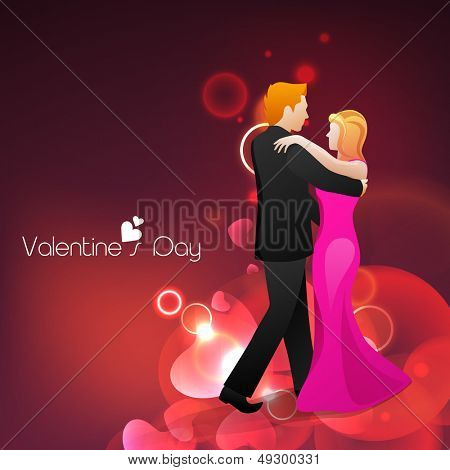 Young couple dancing on shiny red background for Valentines Day.