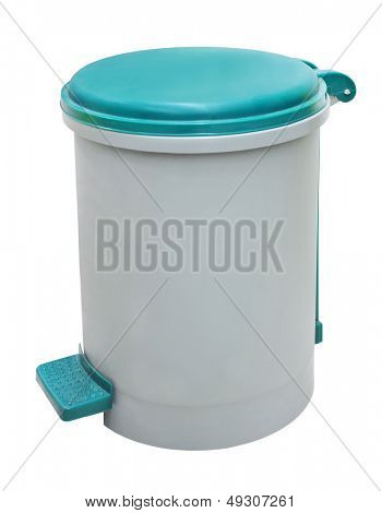 plastic trash can, isolated on a white background.