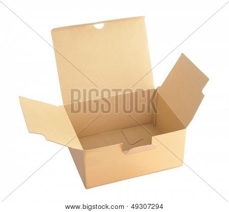Opens box isolated in white background