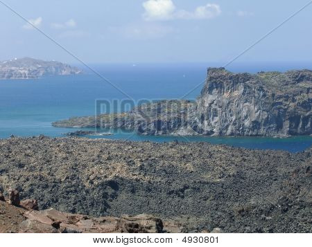 Background Of Volcano And Sea