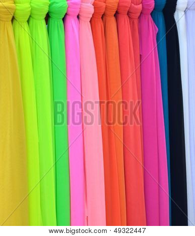 from colorful shawls made of silk fabrics