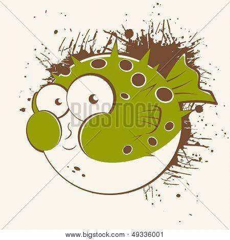 vintage cartoon blowfish