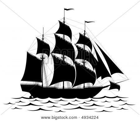 Black Ship Isolated On White