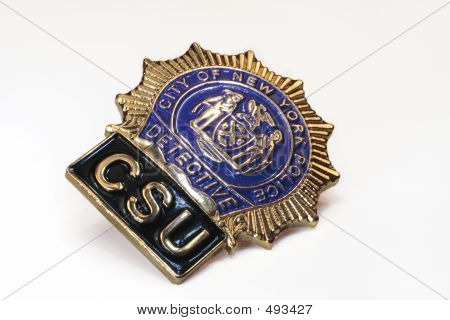 nypd police detective badge close up on white background, slightly different angle poster