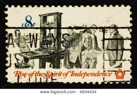 A 1973 issued 8 cent United States postage stamp showing Rise of the Spirit of Independence. poster