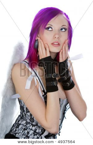 Attractive Emo Girl With Angel Wings