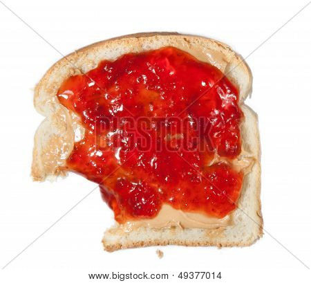 Peanut Butter And Jelly Sandwich With A Bite Taken Out