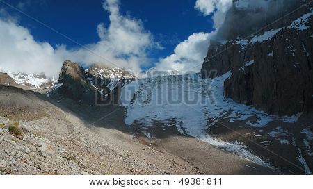 Aksay Glacier in Kyrgyz Mountains
