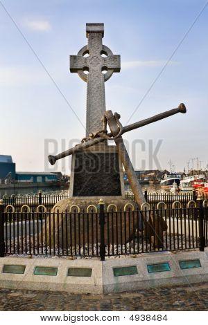 Irish Sailors Celtic Cross At Howth Harbor, Dublin