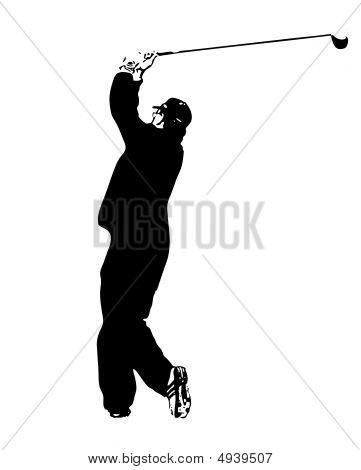 Golfer Silhouette Swinging Club