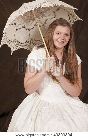 Girl White Dress Umbrella Smiling