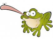 funny cartoon frog catching fly poster