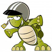 funny cartoon turtle with helmet poster