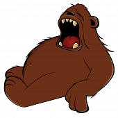 funny cartoon bear is tired poster