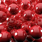 abstract background from bright red shiny balls poster