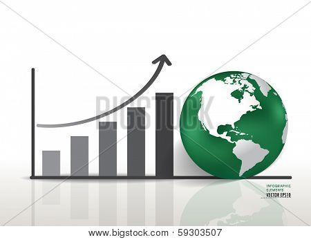 Growth chart and globe. Vector illustration.