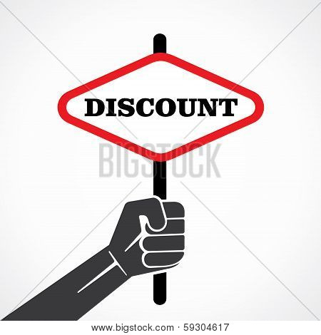 discount word banner hold in hand stock vector