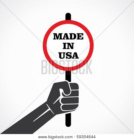 made in usa word banner hold in hand stock vector