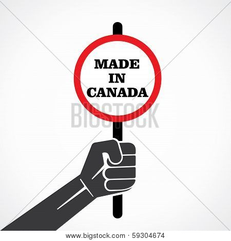 made in canada word banner in hand stock vector