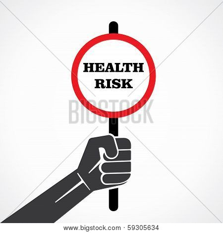 health risk word banner hold in hand stock vector