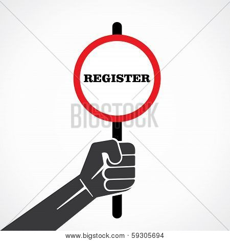 register word banner hold in hand stock vector
