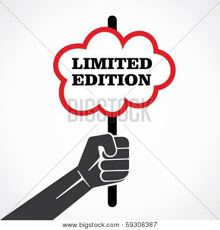 limited  edition word banner hold in hand stock vector