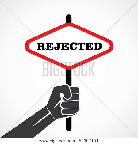 rejected word banner hold in hand stock vector
