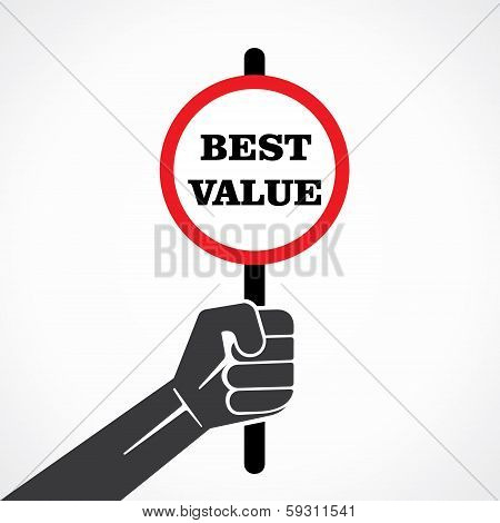 best value word banner hold in hand stock vector