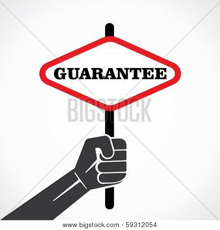 guarantee word banner held in hand stock vector
