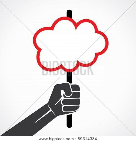 cloud shape banner or placard in hand stock vector