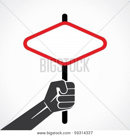 diamond shape banner or placard in hand stock vector
