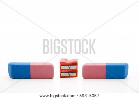Rubber erasers with sharpener