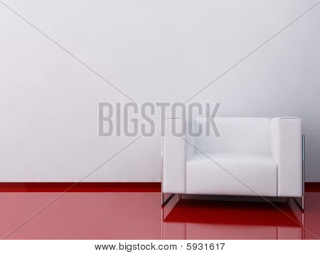 White Armchair To Face A Blank Wall