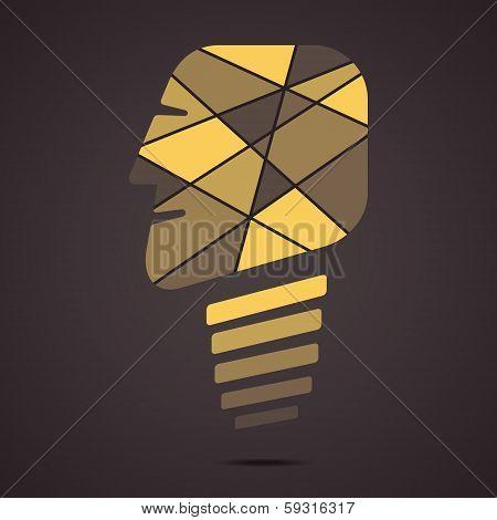 creative bulb face vector