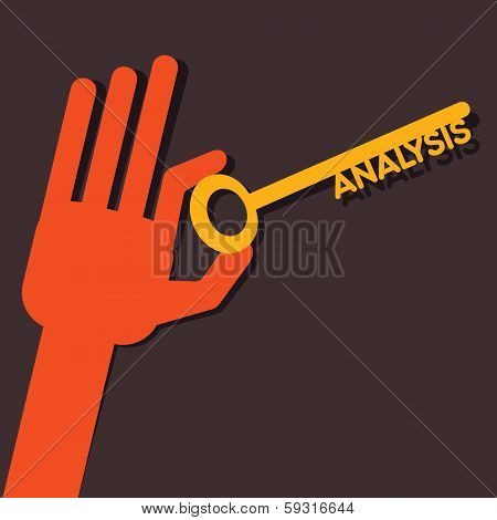 analysis key in hand stock vector