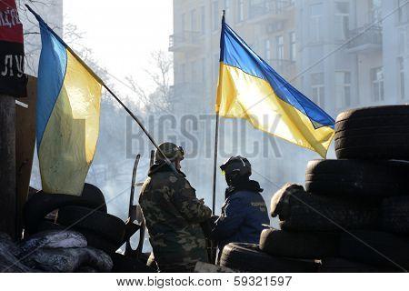 KIEV, UKRAINE - February 3, 2014: Ukrainian revolution. Euromaidan, life on the barricades.