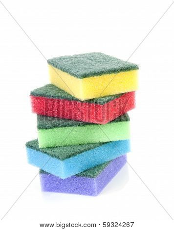 Pile Of Colorful Sponge Scourer Over White Background