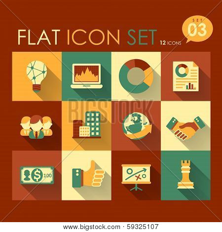 vector business strategy icon set flat design poster