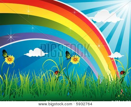 rainbow in a landscape vector