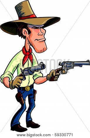 Cartoon cowboy drawing guns