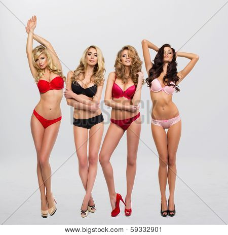 Beautiful Women In Full Growth Pose In Front Of The Chamber In Lingerie