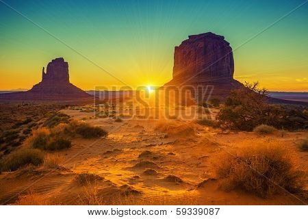 Sunset At The Sisters In Monument Valley