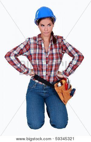 Frustrated female builder