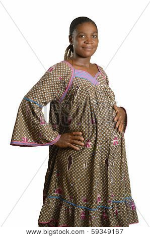 Pregnant African Woman In Traditional Clothes