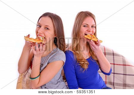 Two Girlfriends Eating Pizza