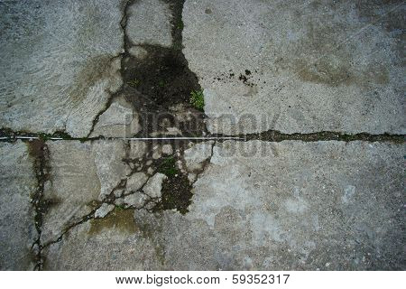 texture of a cement floor ruined