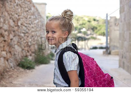 School Girl With Bag Outside
